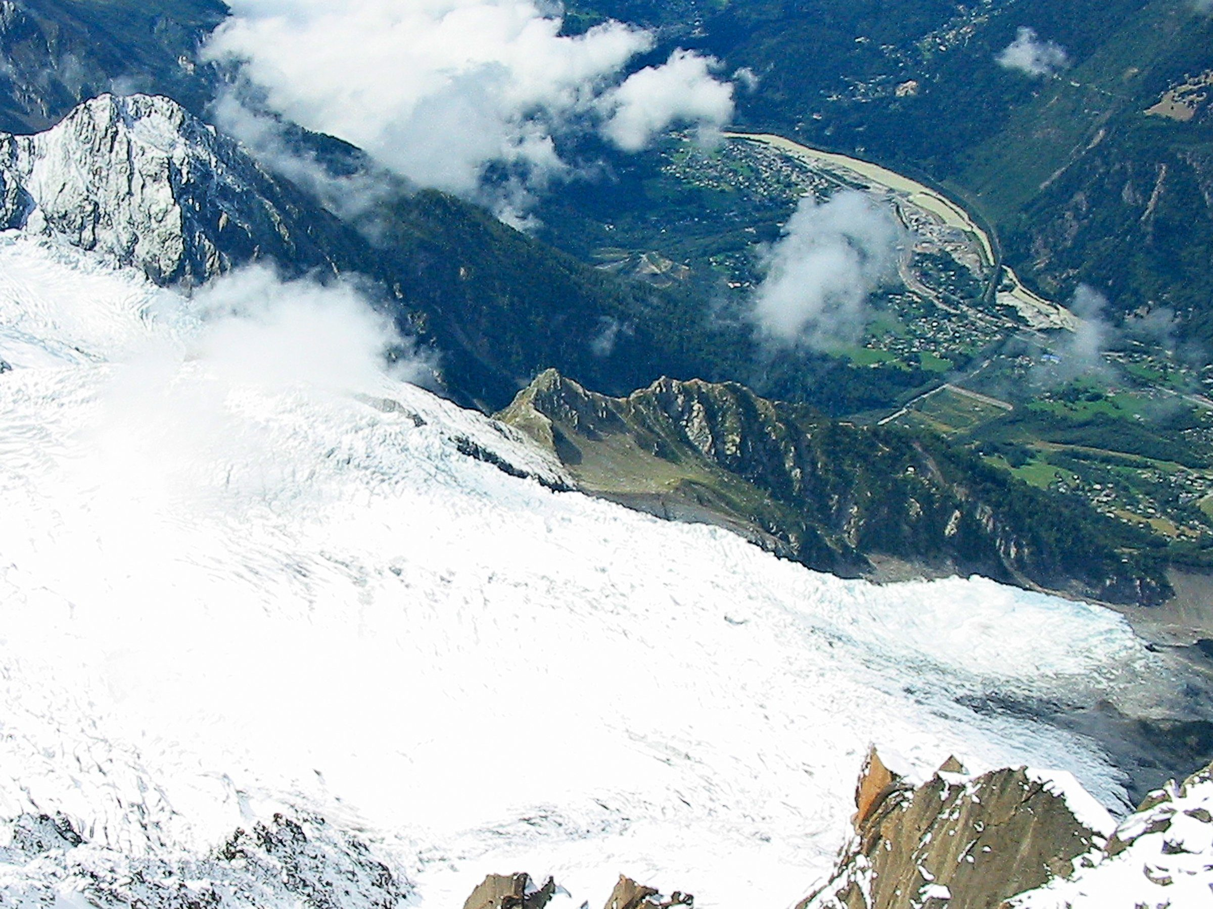 View Looking Down from Aiguille du Midi, near Chamonix France