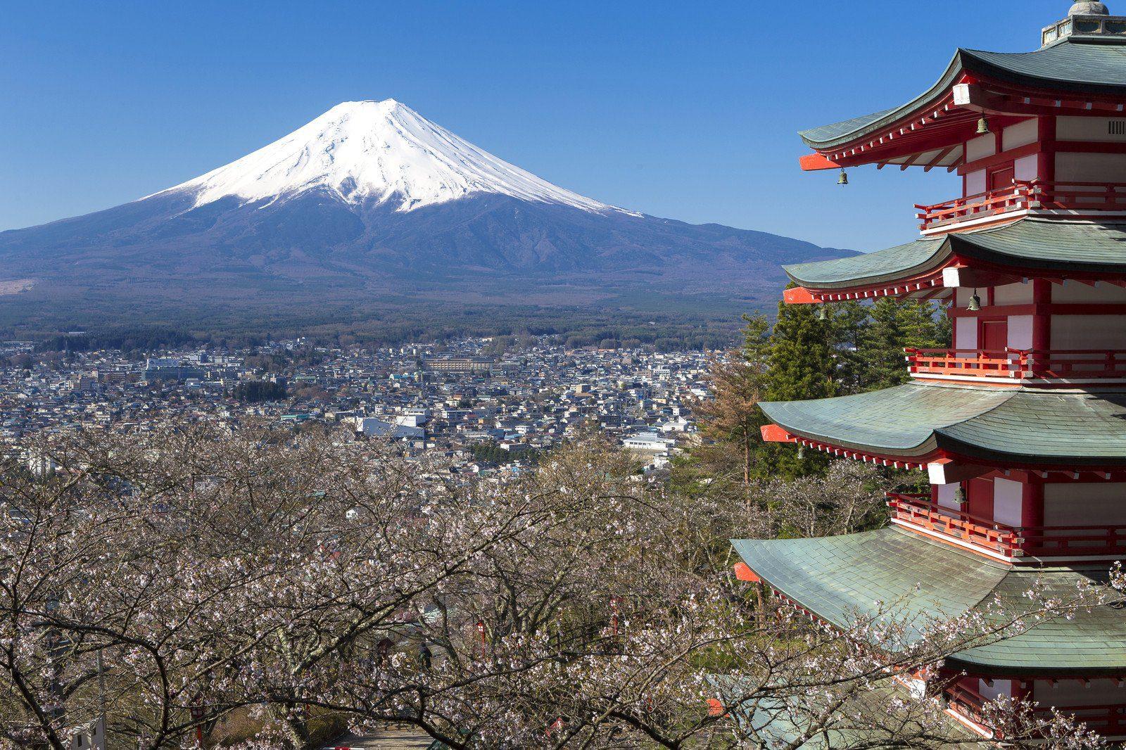 Mt. Fuji viewed from Chureito Pagoda in Japan