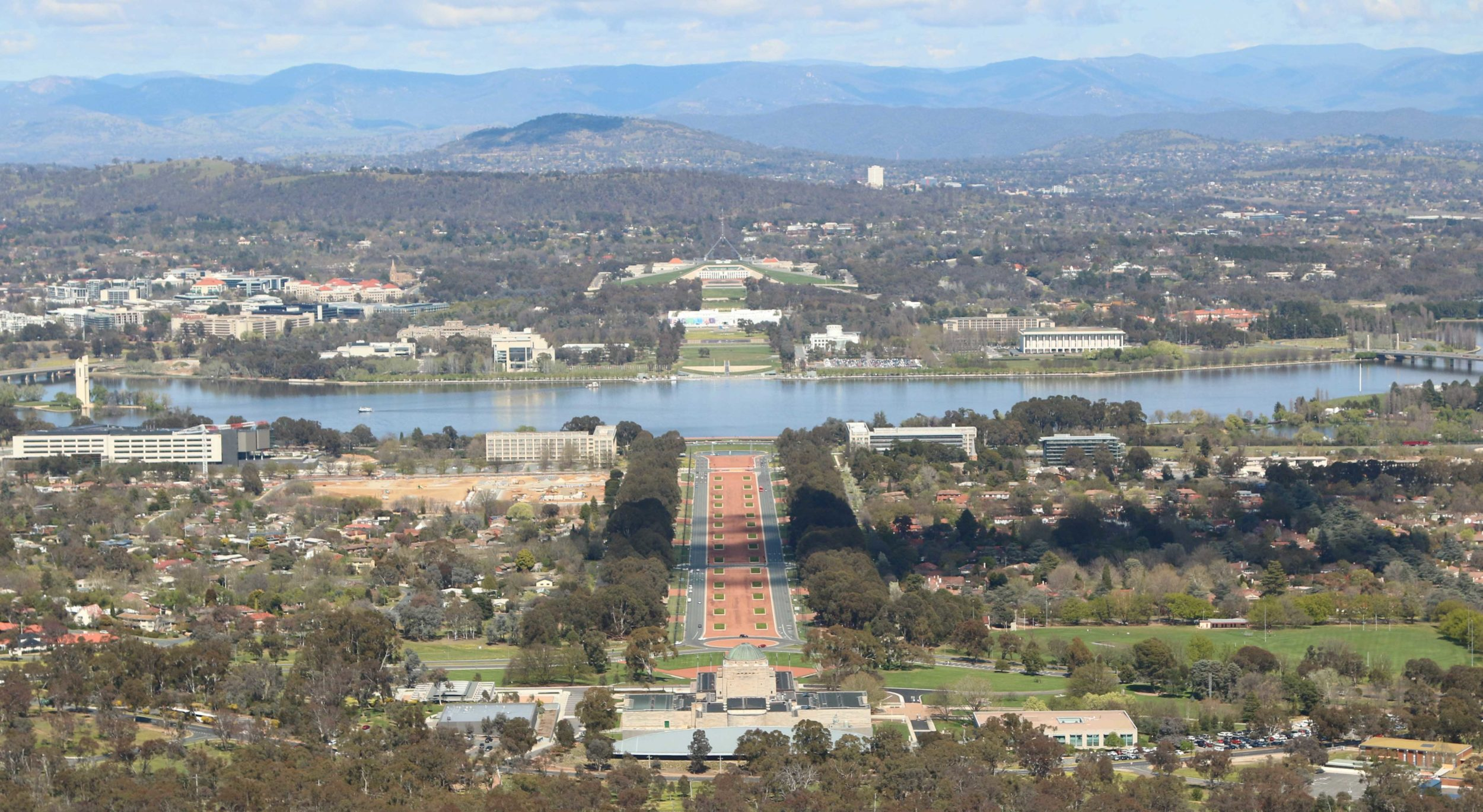 Via from Mt Ainslie over Canberra, with the Australian War Memorial and Parliment House